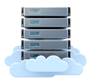 3D render of servers in the clouds