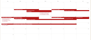 Calendar with timeline of events