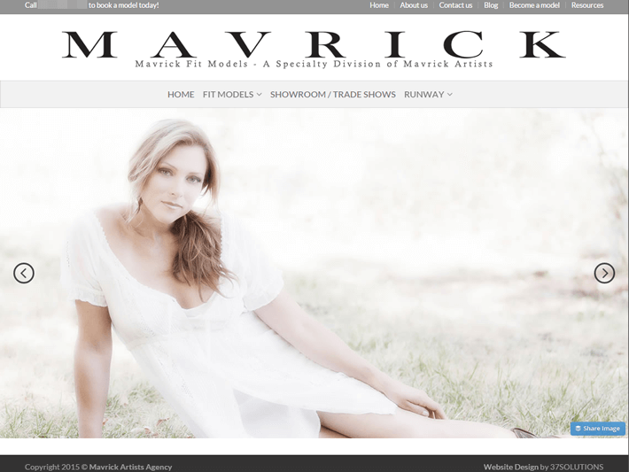 Mavrick Fit Models home page slider