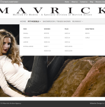Menu drop down on Mavrick Fit Models website