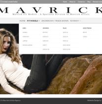 Menu drop down on Mavrick Fit Models website