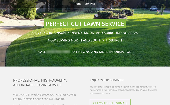 Home page for Perfect Cut Lawn Service